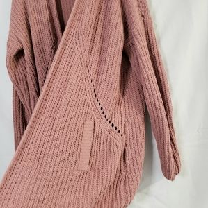 Band of Gypsies Sweaters - Band Of Gypsies Mauve Rose Long Cardigan Sweater S